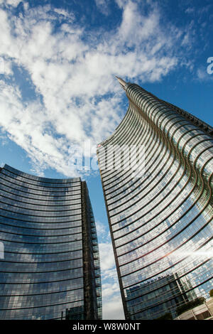 UniCredit Tower, headquarters of the Italian bank UniCredit, Designed by Cesar Pelli Architect, Milan, Lombardy, Italy - Stock Photo
