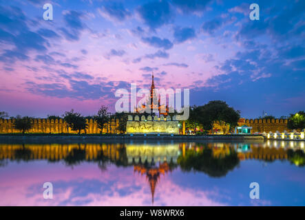 Night view of Mandalay Palace in Myanmar - Stock Photo