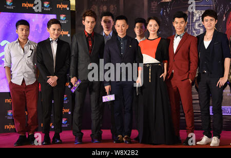 The main cast members pose during a press conference for the premiere of their TV drama 'The Virtuous Queen of Han' in Beijing, China, 12 August 2014. - Stock Photo