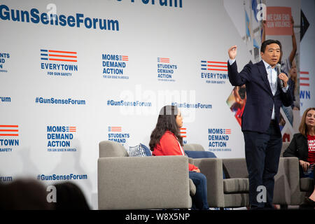 DES MOINES, IOWA/USA-AUGUST 10, 2019:  Andrew Yang, Founder of Venture for America speaks at the Presidential Gun Sense Forum at the Iowa Events Center. - Stock Photo