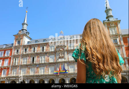Young woman in Plaza Mayor square, Madrid, Spain - Stock Photo