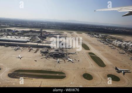 --FILE--Aerial view of jet planes on the parking apron at the Beijing Capital International Airport in Beijing, China, 10 September 2013.   Atlantas H - Stock Photo
