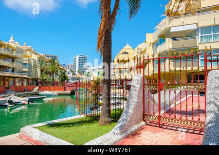 View to boats and bridges in the Puerto Marina. Benalmadena, Andalusia, Spain - Stock Photo