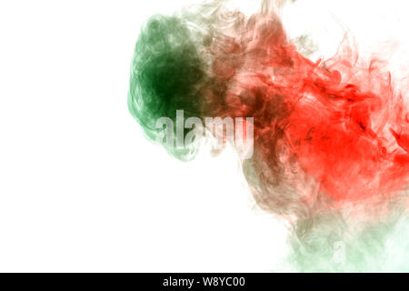 Abstract distortion of the process of mixing two substances of green and red in the form of a wavy pattern of smoke or ink. Print for clothes. Disease - Stock Photo
