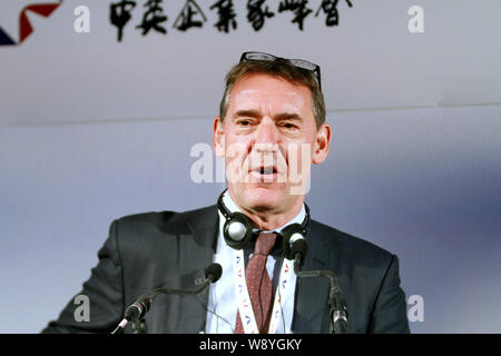 Jim O'Neill, retiring chairman of Goldman Sachs Asset Management, speaks at the 1st UK-China Business Leaders Summit in London, Britain, 2 June 2014. - Stock Photo