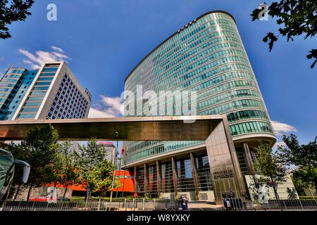 --FILE--View of the headquarters building of CNOOC (China National Offshore Oil Corporation) in Beijing, China, 13 July 2014.   China's primary offsho - Stock Photo