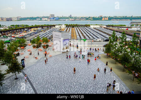 Aerial view of Hudson Yards train depot from The Vessel, Hudson Yards, New York City, USA. - Stock Photo