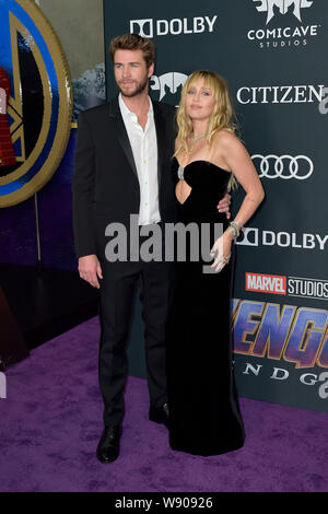 Los Angeles, USA. 22nd Apr, 2019. Liam Hemsworth with wife Miley Cyrus at the world premiere of the motion picture 'Avengers: Endgame' at the Los Angeles Convention Center. Los Angeles, 22.04.2019 | usage worldwide Credit: dpa/Alamy Live News - Stock Photo