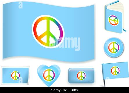 Peace flag. Vector illustration 3 layers. Shadows, flat flag, lights and shadows. Collection of world flags. Accurate colors. Easy changes. - Stock Photo