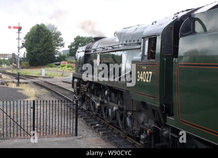 Preserved steam locomotive 34027 Taw Valley, a Southern Region West Country Class pacific, at Kidderminster on Severn Valley Railway 1st August 2019. - Stock Photo