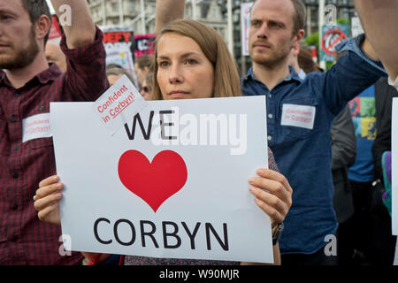 London,UK.27 June 2016. Supporters of Labour Party leader Jeremy Corbyn MP demonstrating outside Parliament to keep him as leader. - Stock Photo