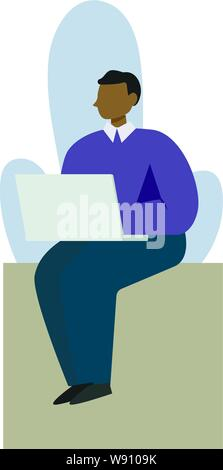 A woman working or studying on a laptop. In minimalist style Cartoon flat Vector Illustration - Stock Photo