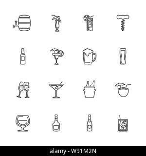 Alcoholic icons set - Black symbol on white background. Money and Finance Simple Illustration Symbol - lined simplicity Sign. Flat Vector thin line Ic - Stock Photo