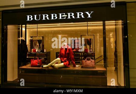 --FILE--View of a Burberry boutique in Hong Kong, China, 3 March 2013.    Burberry Group PLC on Wednesday (17 April 2013) showed signs of a return to - Stock Photo