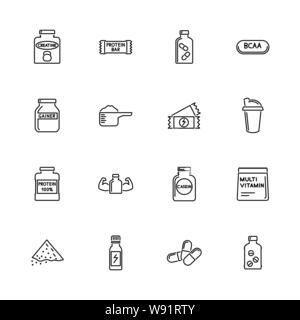 Sport Supplements, Bodybuilding Nutrition icons - Black symbol on white background. Simple illustration. Flat Vector Icon. Mirror Reflection. Can be u - Stock Photo
