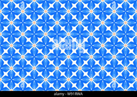 Seamless pattern. White background and four pointed stars and squares in blue and cream color tones. - Stock Photo