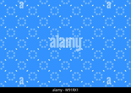 Seamless pattern. Blue background and shaped eight-point stars and diamonds in light blue and white colors. - Stock Photo