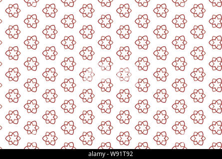 Seamless pattern. White background and shaped six rayed stars with three pointed stars in light and dark red colors. - Stock Photo