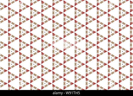Seamless pattern. White background and shaped triangles with circles in black, cream, brown, light and dark red colors. - Stock Photo