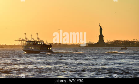 Sunset over Upper New York Bay (USA) - Stock Photo