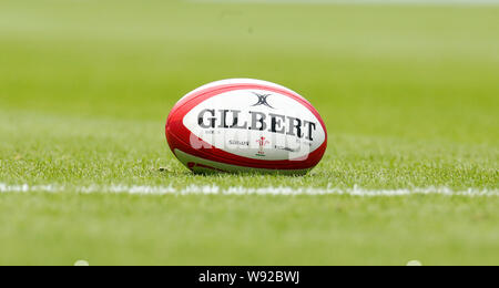 London, UK. 11th Aug, 2019. LONDON, ENGLAND. AUGUST 11: Match Ball during Quilter International between England and Wales at the Twickenham stadium on August 11, 2019 in London, England. Credit: Action Foto Sport/Alamy Live News - Stock Photo