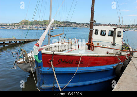 Wooden Fishing Boat 'Gallichd Millig' at Conwy Quay, Conwy, Wales - Stock Photo
