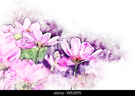 Abstract pink colorful shape on flower blooming watercolor illustration painting background. - Stock Photo