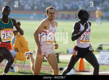 Steve Ovett British athletic middel distance runner at Olympic finnish in Los Angeles Olympic Games 1984 - Stock Photo