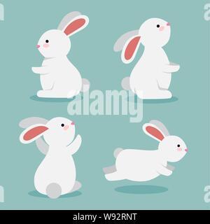 set of cute rabbits wild animals - Stock Photo