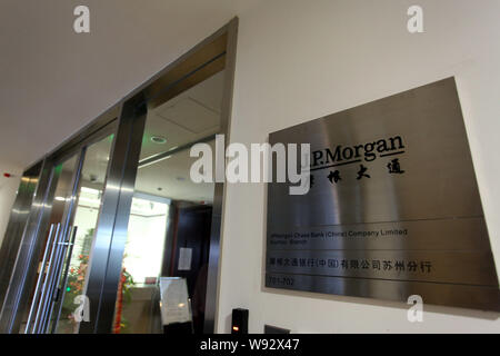 --FILE--View of a branch of J.P.Morgan in Suzhou city, east Chinas Jiangsu province, 21 July 2012.   JPMorgan Chase & Co. has lowered its stake in Chi - Stock Photo