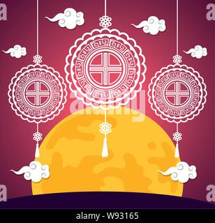chinese hanging decoration with clouds and moon - Stock Photo