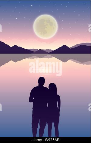 romantic night couple in love at the sea with full moon and starry sky vector illustration EPS10 - Stock Photo