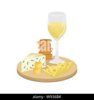 A glass of white wine, cheese platter on a wooden Board with crackers. Maasdam, Gouda, Roquefort. Vector illustration. - Stock Photo