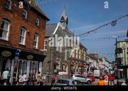 The Town Hall and high street in the centre of Cardigan, Ceredigion, August 2019. - Stock Photo