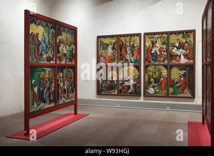 Altarpiece 'The Childhood and Passion of Christ' dated from around 1480 by German Renaissance painter Martin Schongauer from the Dominican Church in Colmar, now on display in the Unterlinden Museum (Musée Unterlinden) in Colmar, Alsace, France. - Stock Photo