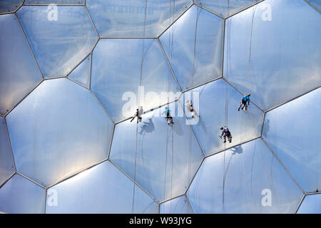 Chinese workers are suspended in the air as they are cleaning the facade of the National Aquatics Center, also known as the Water Cube, in Beijing, Ch - Stock Photo