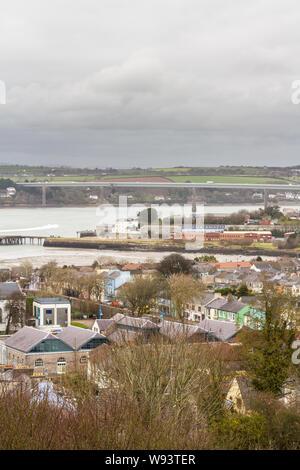 Looking down on town of Pembroke Dock. Pembrokeshire, Wales, United Kingdom, portrait, winter.