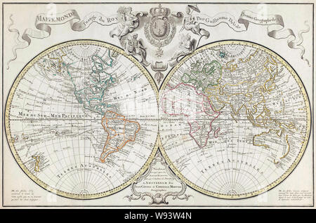 World Map.  A Dutch edition of Guillaume De L'Isle's double hemisphere map of the World first published in Paris in 1720.  It includes marked routes of major explorers.  This edition, dating from the second half of the 18th century incorporates new geographical knowledge, unknown at the time of the original publication. - Stock Photo