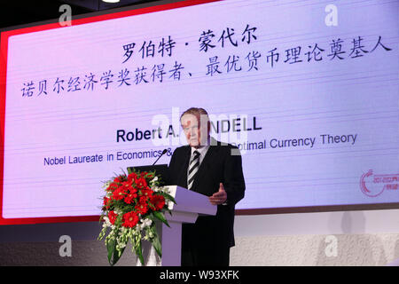 --FILE--Robert Mundell, winner of the Nobel Prize in Economics in 1999 and known as the Father of the Euro, speaks during the 2012 Global Economic Lan - Stock Photo