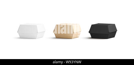 Blank black, craft and white burger box mockup set, isolated, 3d rendering. Empty lunch order with nuggets mock up, front view. Clear carton boxed for take away delivery template. - Stock Photo