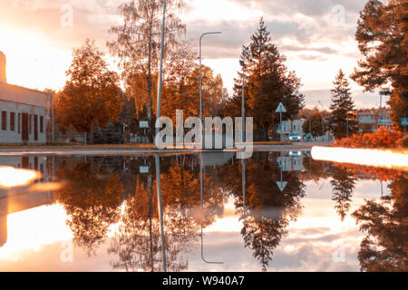 a reflection from Rukla Lithuania 2018. - Stock Photo