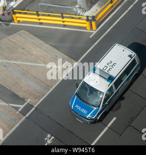 Hannover, Germany, July 17., 2019: View from above of a VW bus of the German Federal Police at the airport - Stock Photo