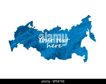 Map russia blue isolate object on white - Stock Photo