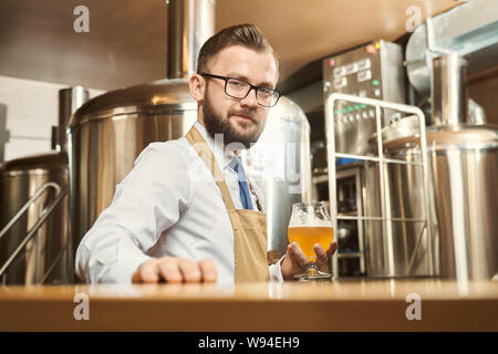 Young bearded brewer looking at camera and smiling while keeping glass of golden ale in hand. Man wearing white shirt and apron standing in brewery and examining beer. Concept of production. - Stock Photo