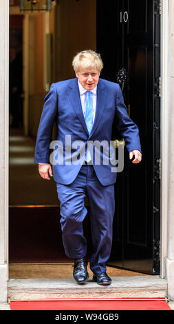 Boris Johnson, Prime Minister of the United Kingdom and Leader of the Conservative Party, exits No 10 Downing Street, London, UK - Stock Photo