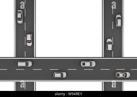 three roads with cars at right angles at different heights. 3d rendering - Stock Photo
