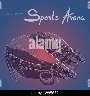Sketch of the main stadium in Sochi. - Stock Photo