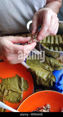 Closeup of male hands making Dolma, tolma, sarma, dolmah stuffed grape leaves with rice and meat using a special device, traditional Caucasian, Ottoma - Stock Photo