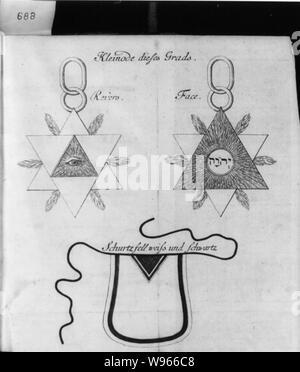 Allegorical diagrams representing 2d Degree of Rosicrucians: Kleinode dieses Grads - Stock Photo