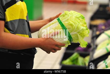 A customer shops for cabbages at a supermarket in Jiujiang, east Chinas Jiangxi province, 6 May 2012.   Vegetable vendors in Shandong province have be - Stock Photo